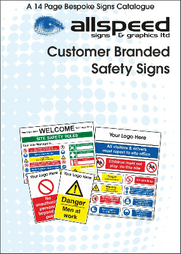A catalogue detailing purchasable 'customer branded' safety signs