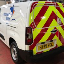 A Portsmouth Water Company vinyl decorated vehicle complete with 'Chapter 8' compliant rear full height chevron kit