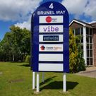 a business park premises sign for company occupants with replaceable panels