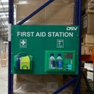 A factory unit with a health and safety first aid station