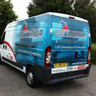 an individual tradesmans van with 3 quarter wrap with logo and photograpic image along with qualified trade logos