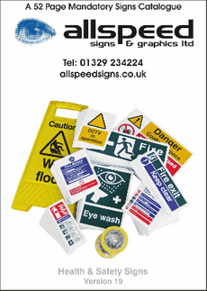 A catalogue detailing purchasable mandatory 'customer branded' safety signs